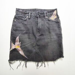 All Saints Embroidered Birds Denim Skirt